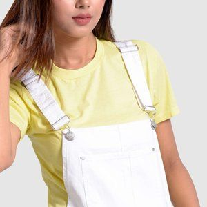 OLGYN Women's White Denim Overall With Embroidery